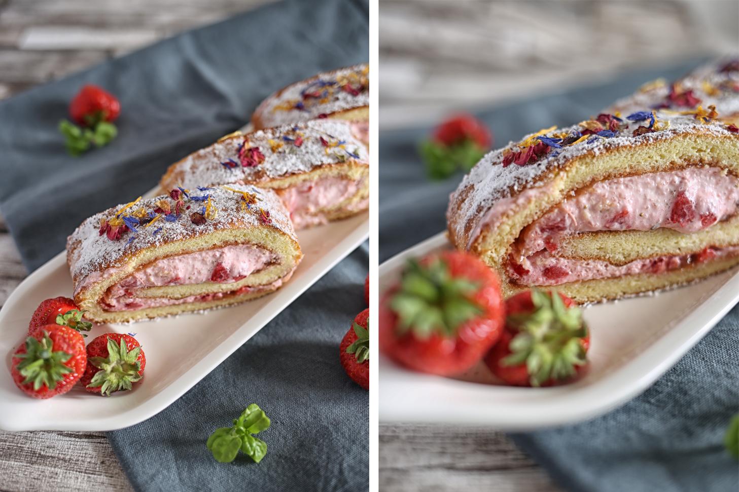 Biskuitrolle mit Basilikum Erdbeer Quarkfüllung