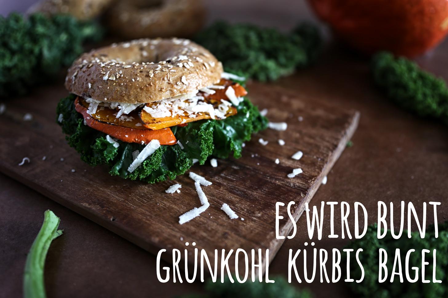 Grünkohl-Kürbis-Bagel