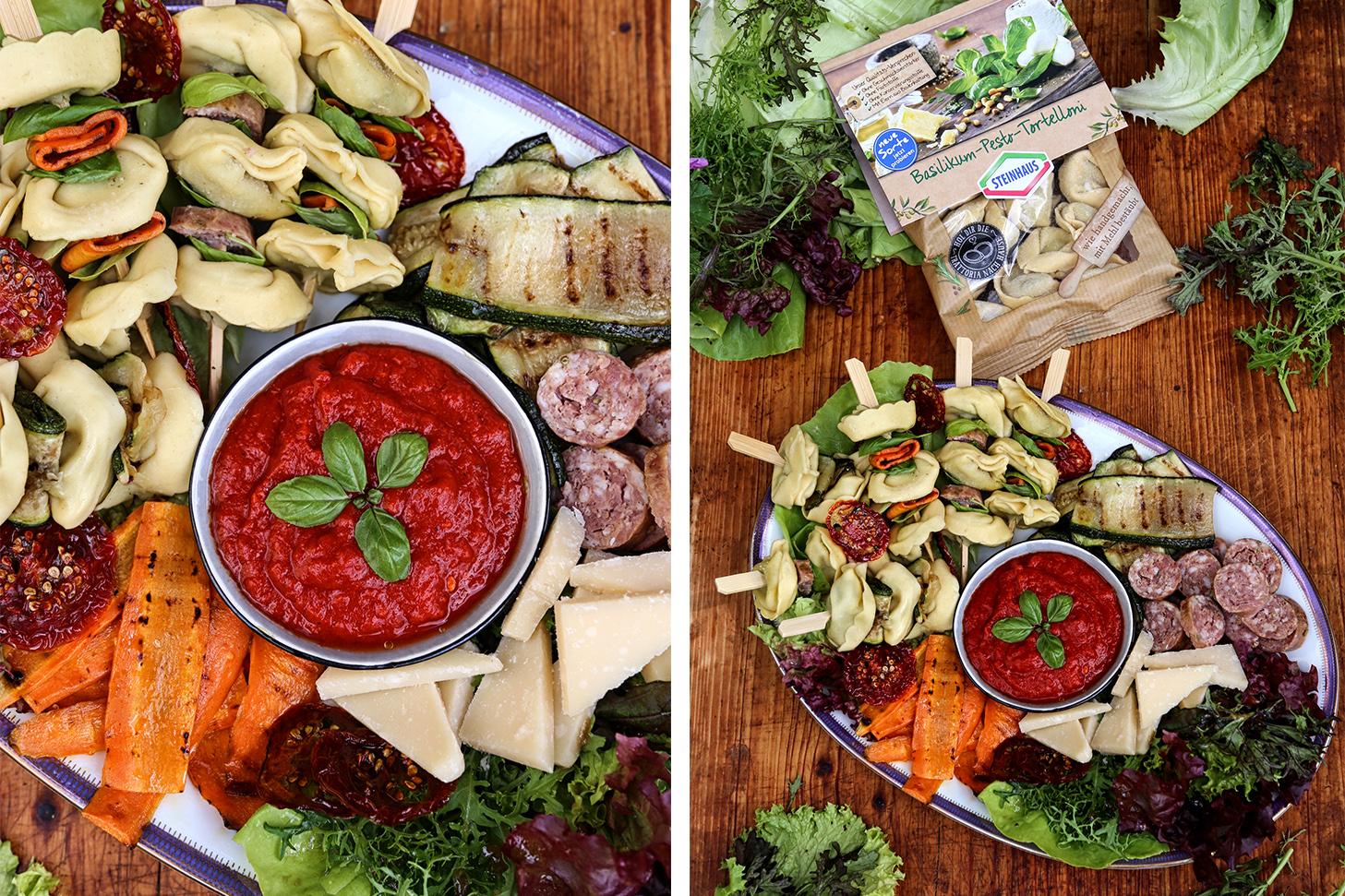 Tortelloni-Spieße mit Antipasti